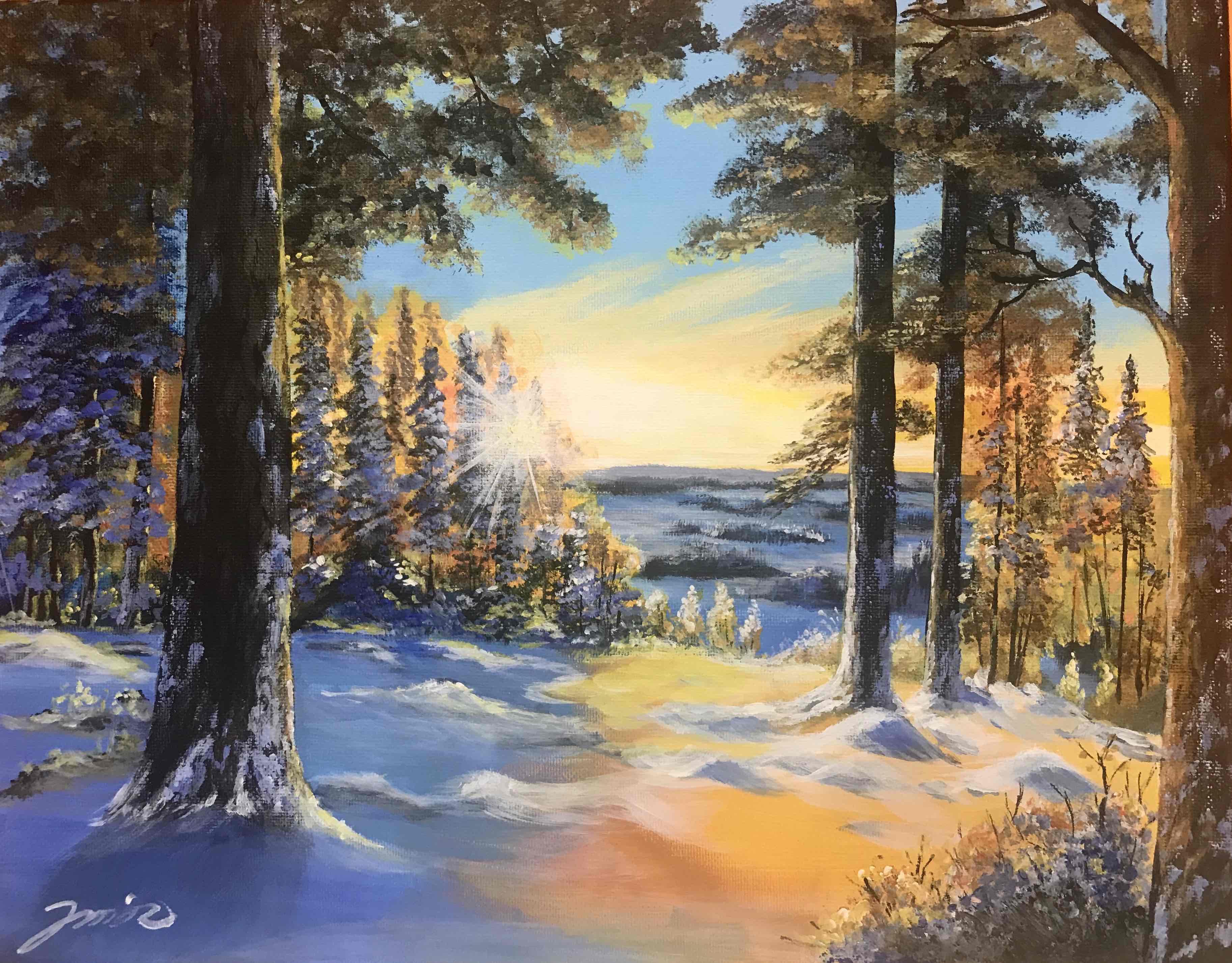 冬晨 - 丙烯画