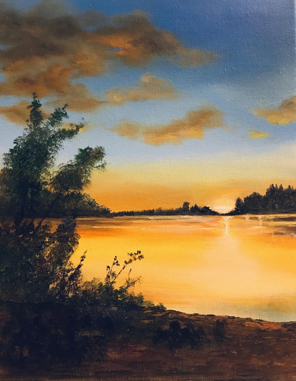 湖畔印象 -- 油画