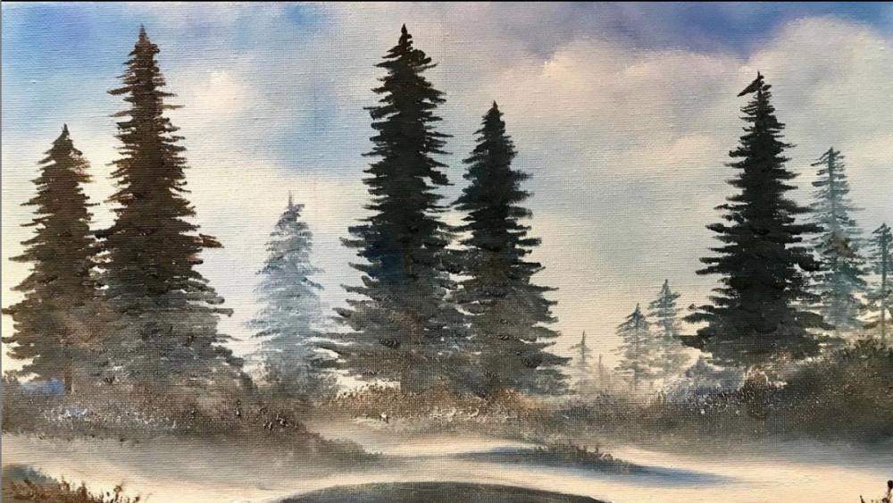 雪松 - 油画